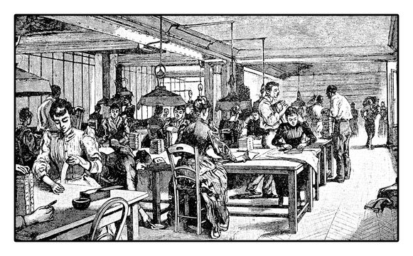 Women working in the shipping and delivery office of a newspaper, vintage engraving