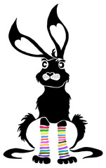 Cartoon bunny with long warm striped socks
