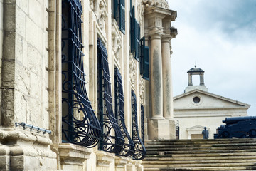 Close up view of Auberge de Castille - one of Valletta's most magnificent buildings, Valletta, Malta