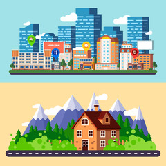 Flat city and forest landscapes banners vector