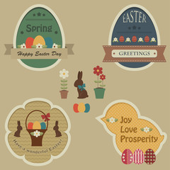 Easter retro labels and tags