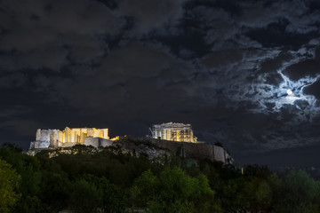 Full moon over Acropolis of Athens