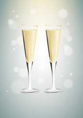 DrukowanieGlasses of champagne on bright background