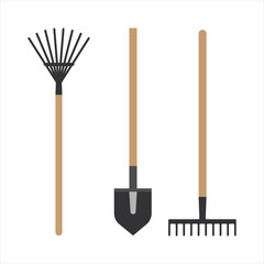 Garden rake equipment flat set vector.