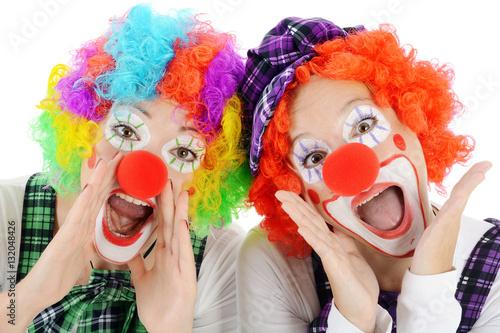 Clown geschminkt in kost m zu karneval fasching oder fastnacht ruft und schreit imagens e - Bastelideen zu karneval ...
