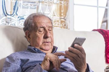 Senior using a smart phone