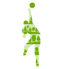 Volleyball woman player vector background concept made of forest