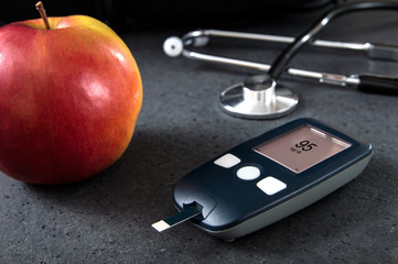Blood glucose meter with interface created in graphic program