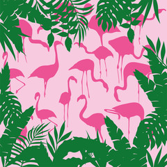 tropical background squared flamingo