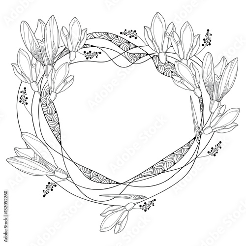 Vector round frame with ornate outline snowdrop flowers or galanthus vector round frame with ornate outline snowdrop flowers or galanthus isolated on white background floral mightylinksfo