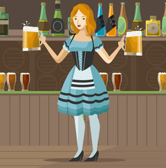 traditional waitress in irish pub with two beers