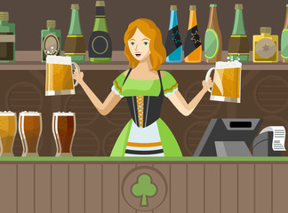 irish pub waitress serving two mugs of beer