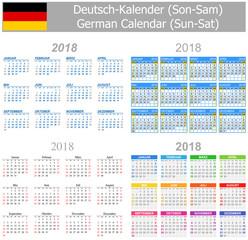 2018 German Mix Calendar Sun-Sat on white background