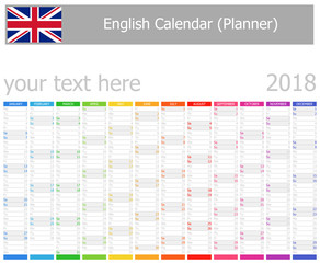 2018 English Planner Calendar with Vertical Months on white background
