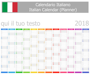 2018 Italian Planner Calendar with Vertical Months on white background