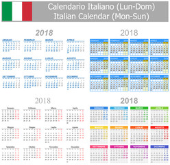 2018 Italian Mix Calendar Mon-Sun on white background