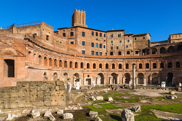 Rome, Italy. Trajan Market ruins, 100 - 112 years BC. In the background - Tower of the Militia (around 1200)
