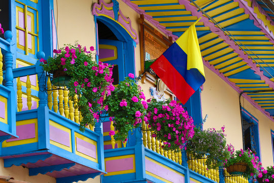 colourful colonial balconies in Colombia