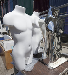 Male torso mannequins-plain white and shiny metal.