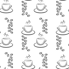 Set of cute hand drawn coffee cup, seamless pattern, black on white.