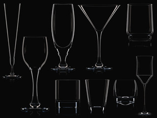 Big glassware collection isolated. 3D illustration