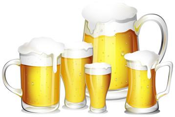 Five glasses of fresh beer