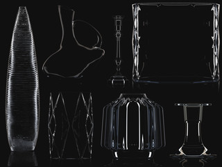 Glass vases collection isolated. 3D illustration