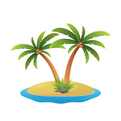 island logo - tropical palm trees with sea waves vector illustration isolated white background