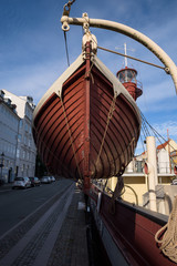 Close-up of a lifeboat in Nyhavn, Copenhagen, Denmark
