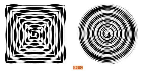 Set Vector halftone background. Concentric circles. Spiral