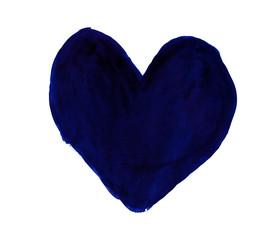 Dark ultramarine heart painted with gouache