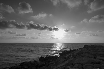 Mono seascape of the Praia da Barra Aviero Portugal