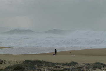 Amazingly beautiful XXL waves at Nazare Portugal