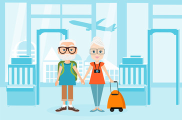 Grandfather and grandmother with a packsack travel. Travelling with the knapsack. Background of airport interiors. Travel Concept. Vector Illustration eps 10 in flat style.