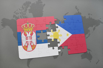 puzzle with the national flag of serbia and philippines on a world map