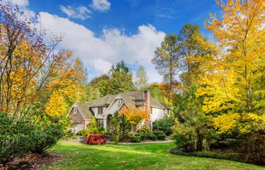 Suburban home in autumn sunshine