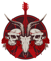 vector illustration with an electric guitar and skull of goat and human with roses
