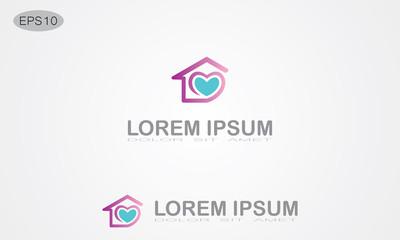 love house abstract logo
