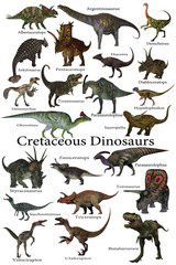 Cretaceous Dinosaurs - A collection of various dinosaurs that lived around the world during the Cretaceous Period.