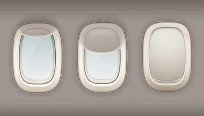 Three Realistic Portholes Of Airplane