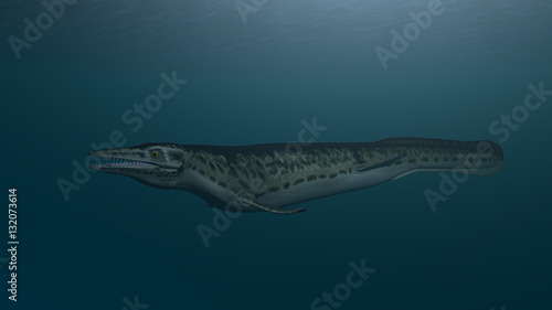 3d illustration of the swimming mosasaur