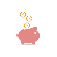 Time is money piggy bank icon, vector illustration.