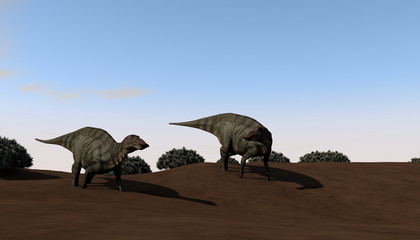 3d illustration of the grazing shuangmiaosaurus