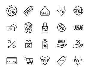 Set of discount icons in modern thin line style.