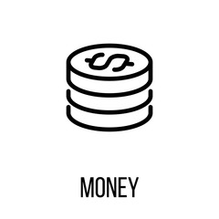 Money icon or logo in modern line style.