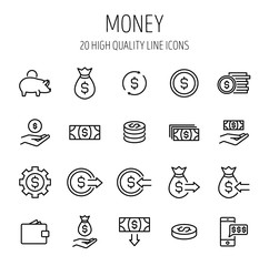 Set of money icons in modern thin line style.