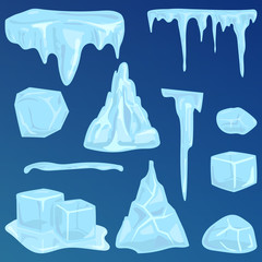 Set of ice caps snowdrifts and icicles elements winter decor vector.
