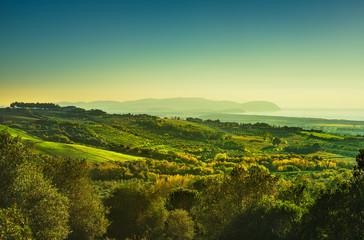 Maremma panorama. Countryside, sea and Elba on horizon. Italy