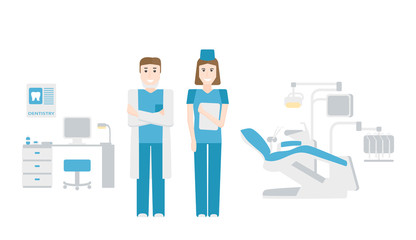 The dentist's office.Dentist and nurse on white background. Flat design
