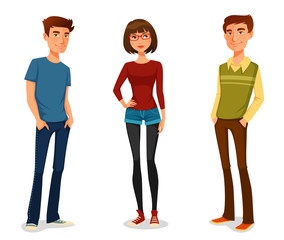group of young people in casual clothes